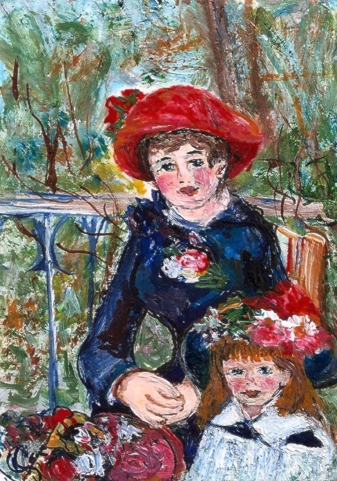 """ACEO Two Sisters in the style of Renoir Miniature Masterpiece by  Penny Lee StewArt"" original fine art by Penny Lee StewArt"