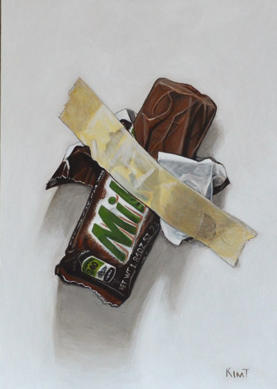 """In Case of Chocolate Emergency 8: Revenge of the Milky Way"" original fine art by Kim Testone"