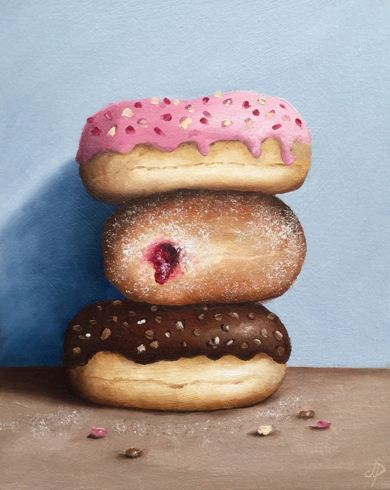 """Three Donuts"" original fine art by Jane Palmer"