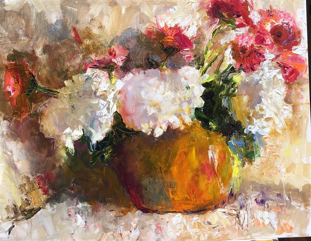 """White Hydrangea"" original fine art by pepa sand"