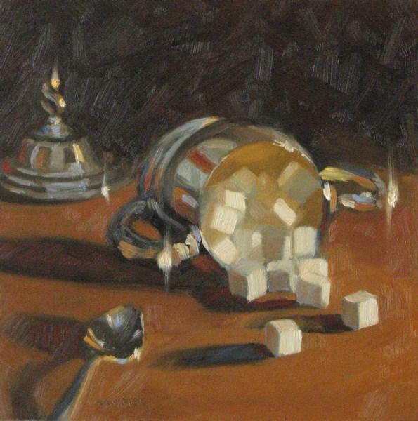 """Fallen Sugar 6x6 oil"" original fine art by Claudia Hammer"