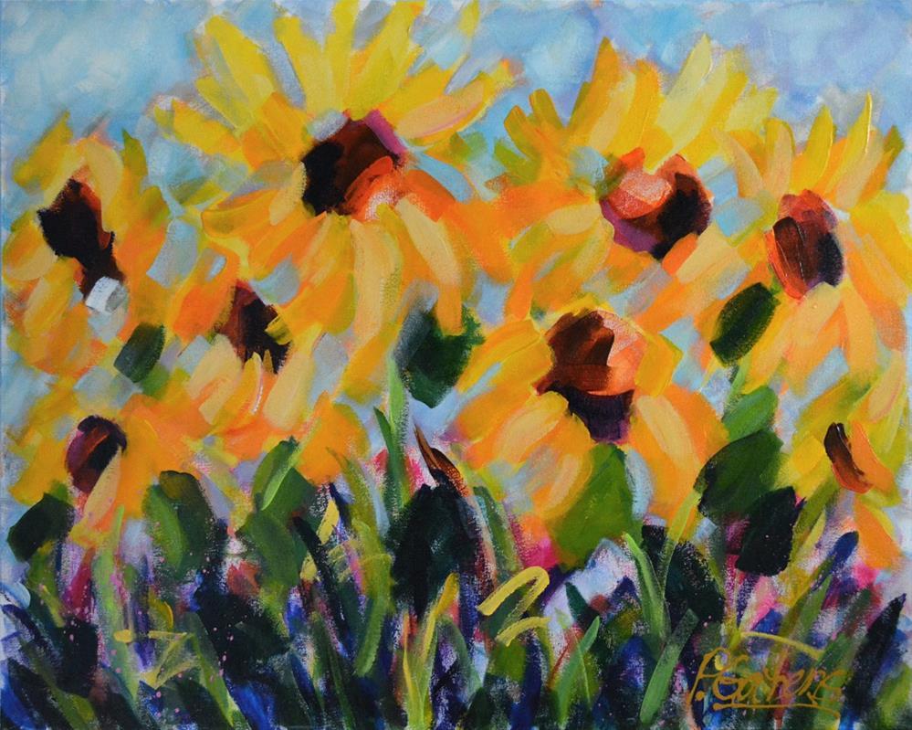 """""""Sunflower Field"""" original fine art by Pamela Gatens"""