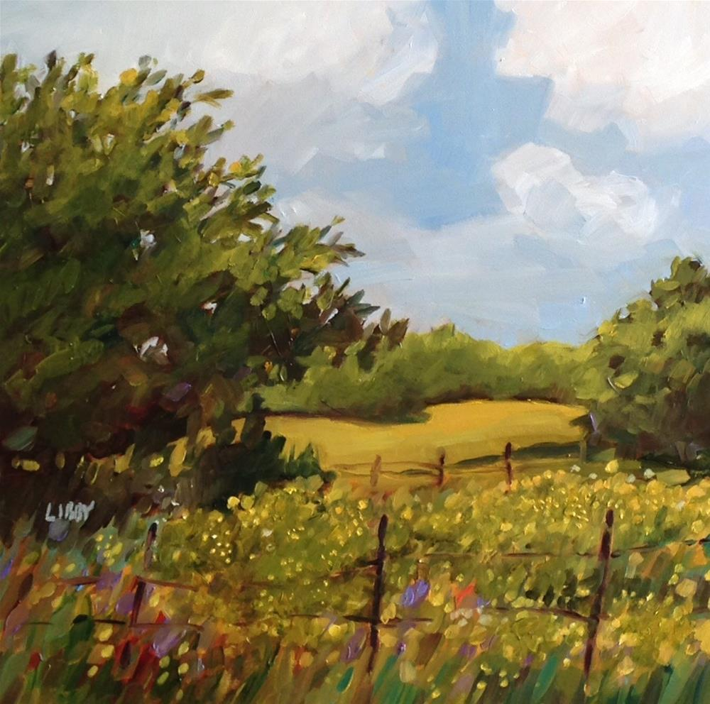 """""""Field of yellow"""" original fine art by Libby Anderson"""