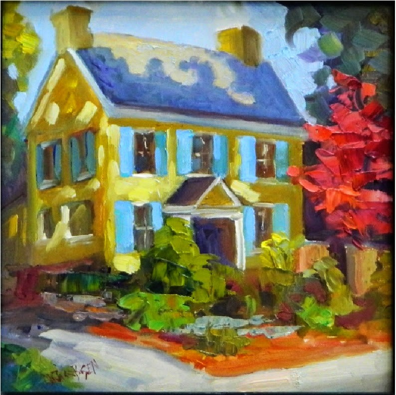 """""""Blue Shutters, McCoy/Cigler Residence, 8x8, oil on board , painting the brandywine Valley, West Ch"""" original fine art by Maryanne Jacobsen"""