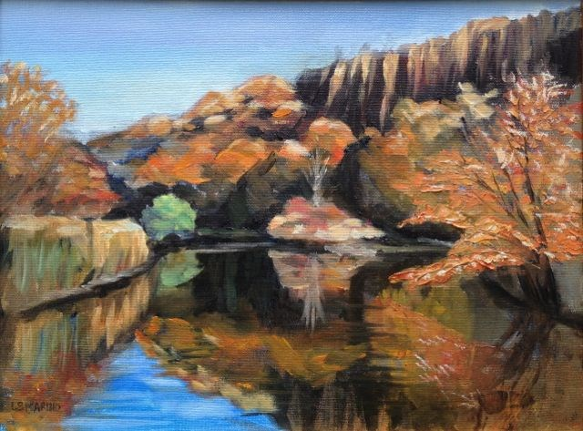 """East Rock at Noon, New Haven, Ct"" original fine art by Linda Marino"