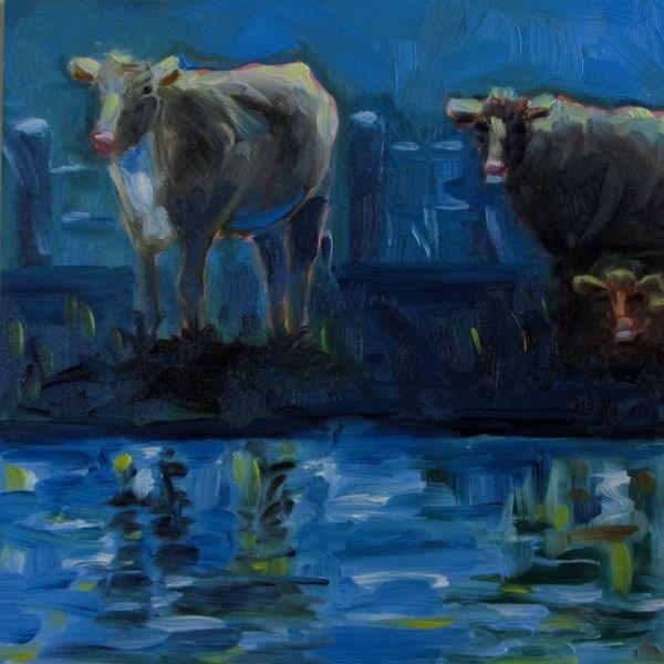 """""""Once in a Blue Moo - n"""" original fine art by Mb Warner"""