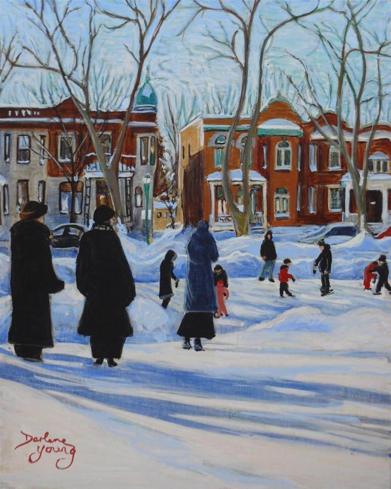 """1174 Watching the Skaters, Outremont Park, egg tempera, 8x10"" original fine art by Darlene Young"