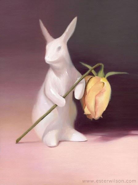 """Pink Rabbit"" original fine art by Ester Wilson"
