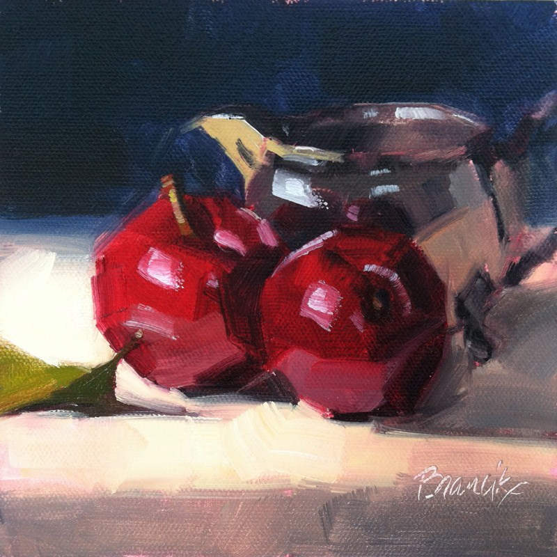 """""""Plums and Silver Creamer"""" original fine art by Candace Brancik"""