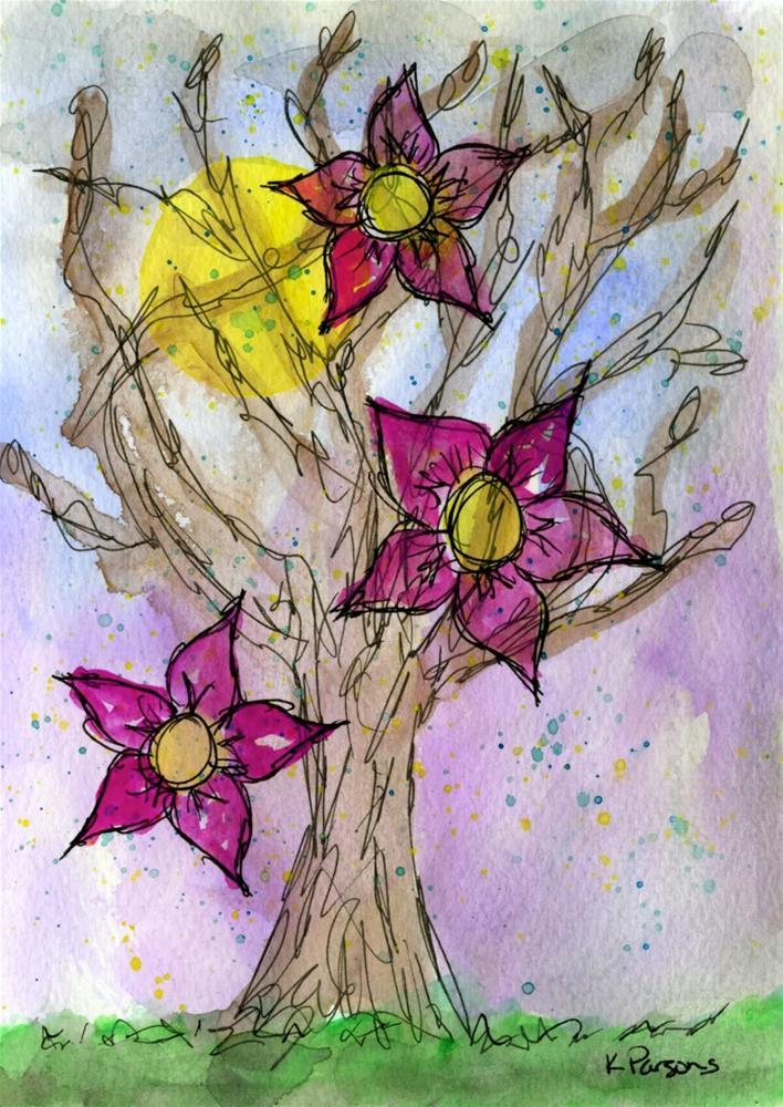 """Full Moon Flowers"" original fine art by Kali Parsons"