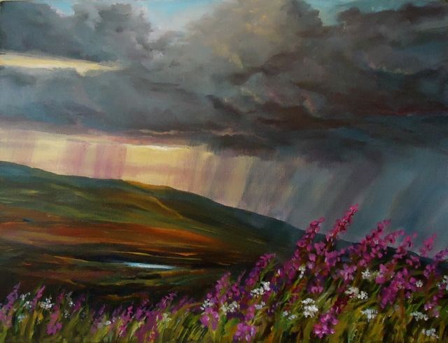 """Summer Storm with Fireweed"" original fine art by Jackie Irvine"