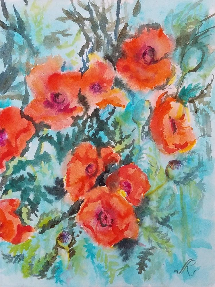 """Poppies"" original fine art by Jean Krueger"