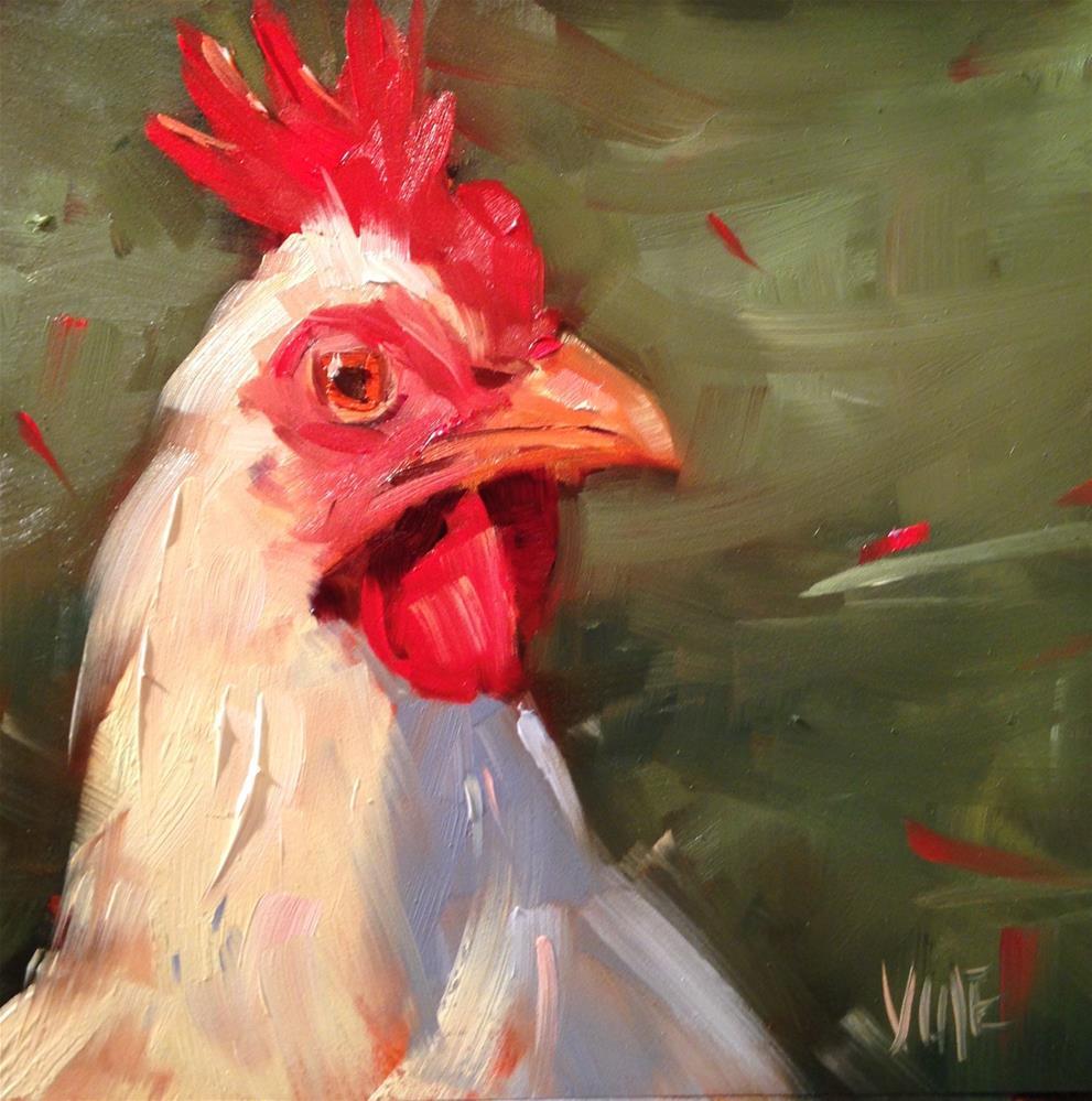 """""""#228 Christmas Chicken"""" original fine art by Patty Voje"""