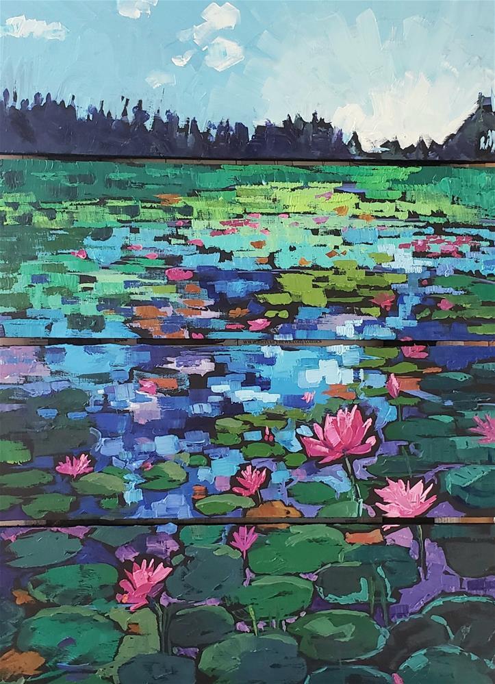 """Early Morning by the Pond"" original fine art by Bhavna Misra"