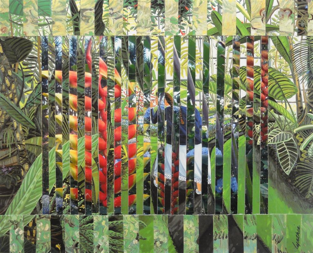 """""""Sniffing Heliconia Pendula in the Conservatory"""" original fine art by Cynthia Frigon"""