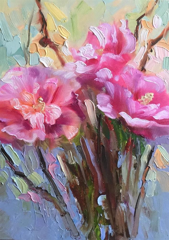 """Sunset Rose of Sharon"" original fine art by Charlotte Fitzgerald"