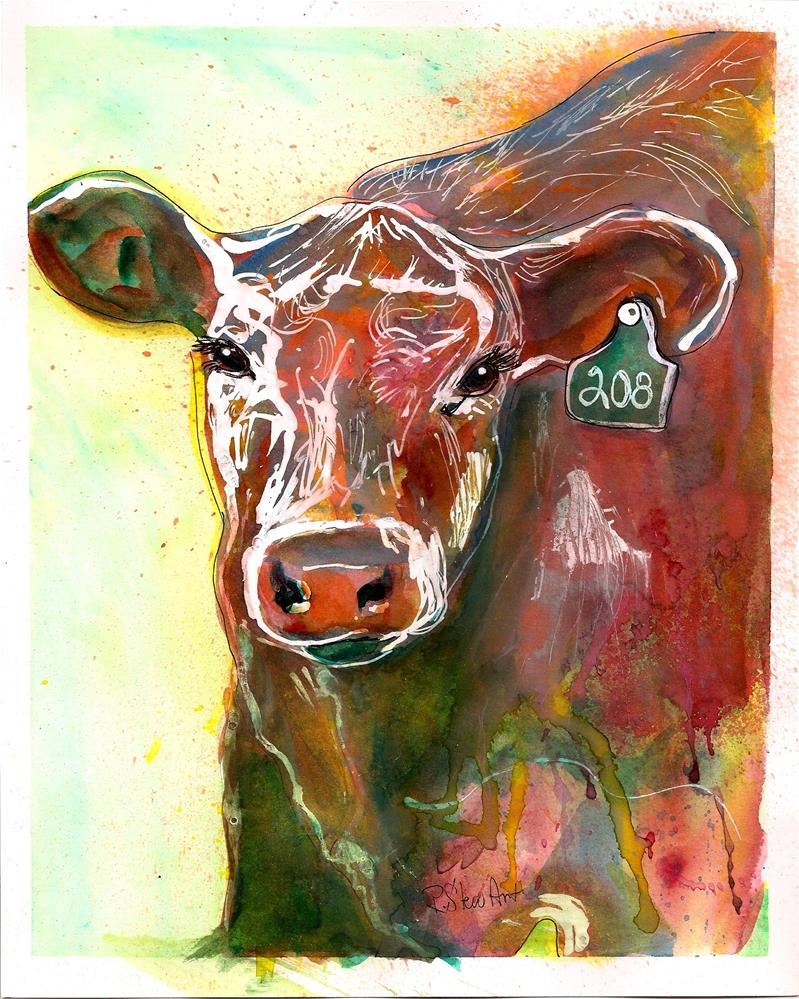 """8x10 Brown Cow with Ear Tag #208 Watercolor Pen and Ink Penny StewArt"" original fine art by Penny Lee StewArt"