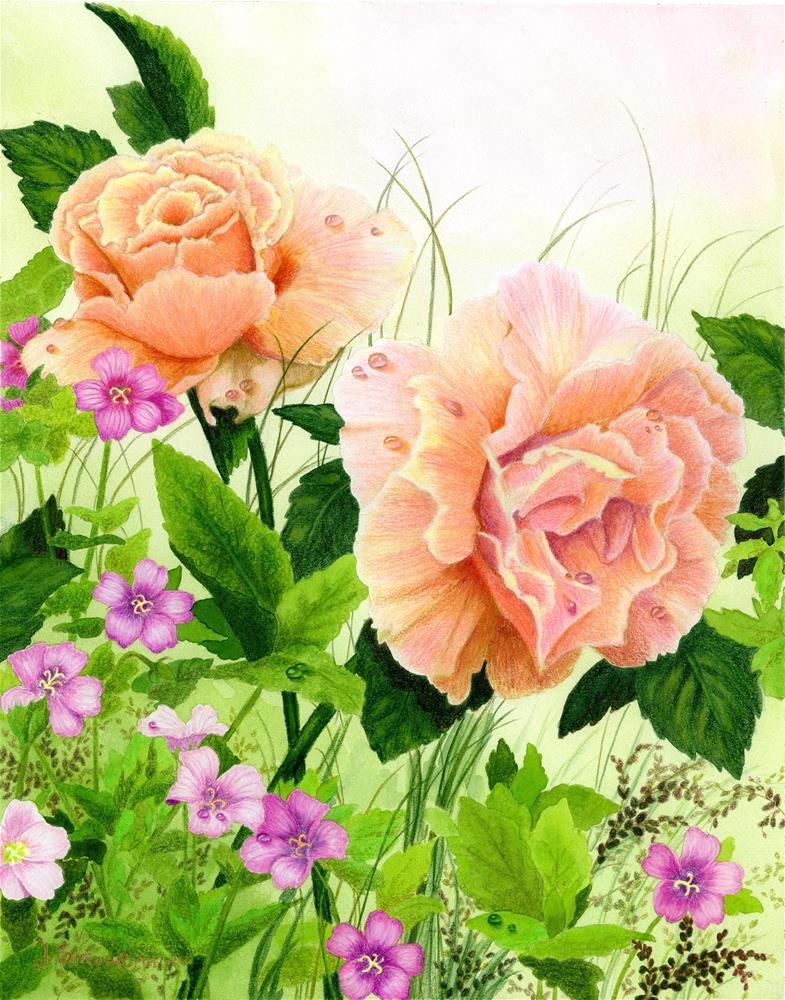 """Roses & Geraniums"" original fine art by Jeanne Strohrmann"