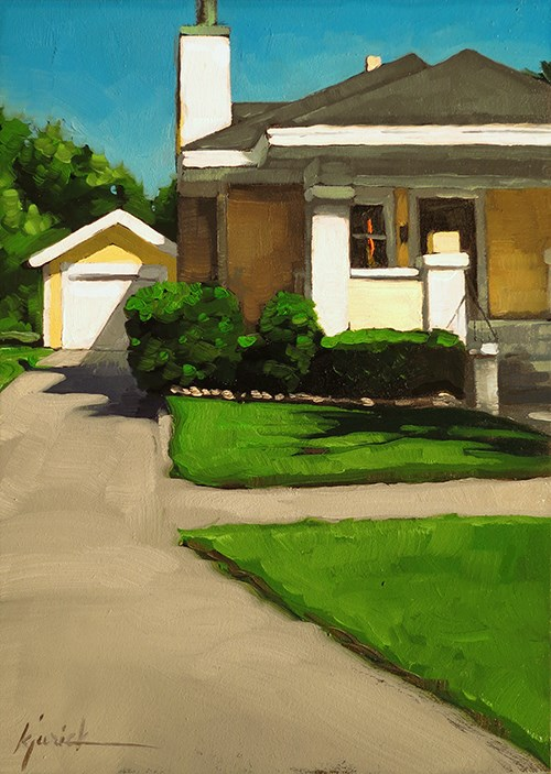 """Lincoln Highway/Grand Island Bungalow, Nebraska"" original fine art by Karin Jurick"