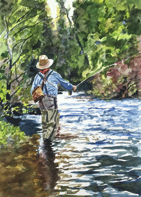 """""""Evening Casting"""" original fine art by Andy Sewell"""