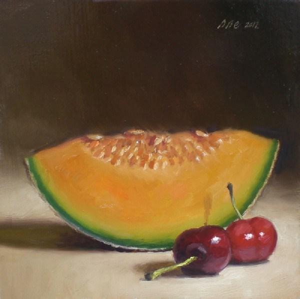 """Cantaloupe and Cherries"" original fine art by Debra Becks Cooper"