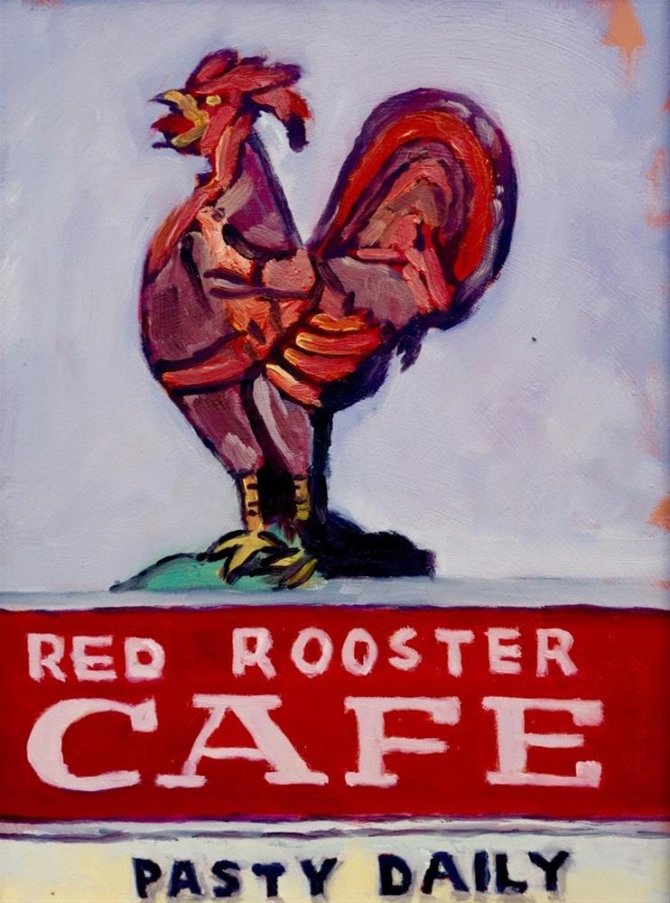 """Red Rooster, en Plein air"" original fine art by Daniel Fishback"