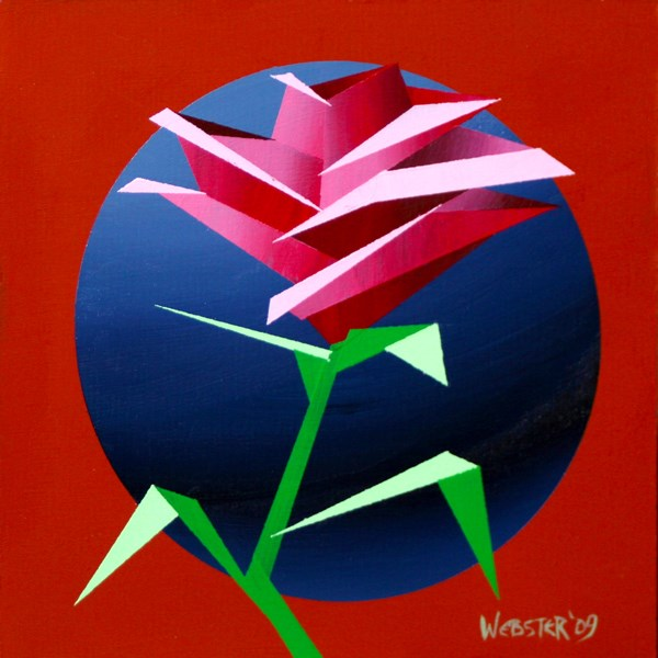 """""""Mark Webster - Abstract Geometric Rose #3 Acrylic Painting"""" original fine art by Mark Webster"""