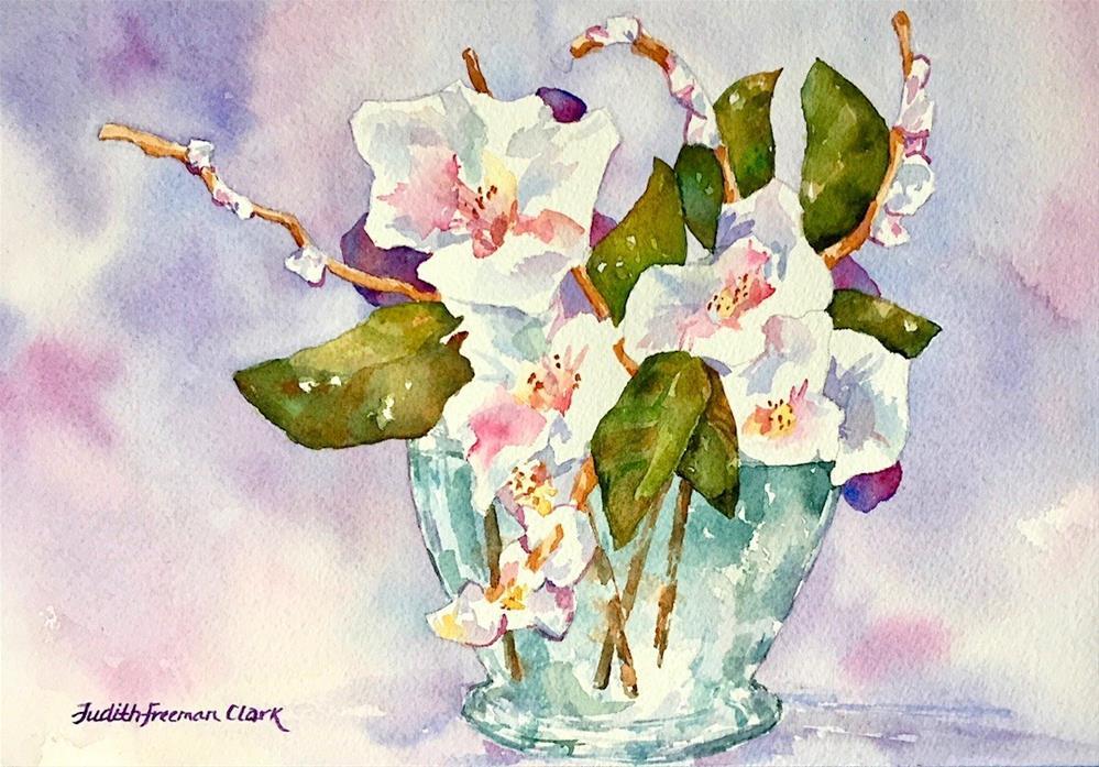 """Glass Bowl with Flowers"" original fine art by Judith Freeman Clark"
