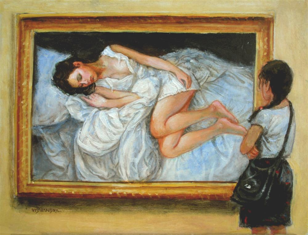 """museum visitor 15"" original fine art by vishalandra dakur"