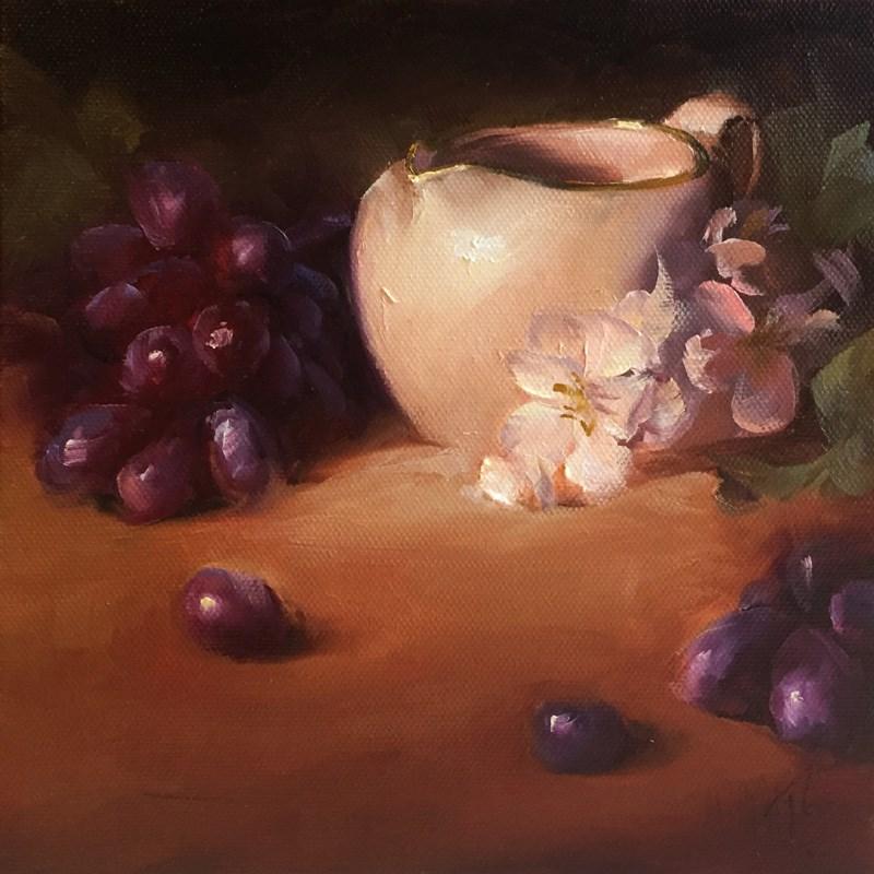 """Study of White Creamer and Apple Blossoms"" original fine art by Lori Twiggs"