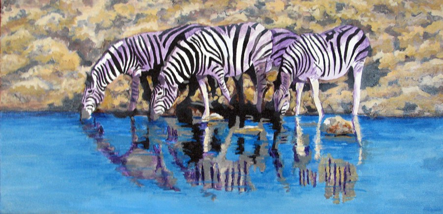 """The Watering Hole"" original fine art by Nan Johnson"
