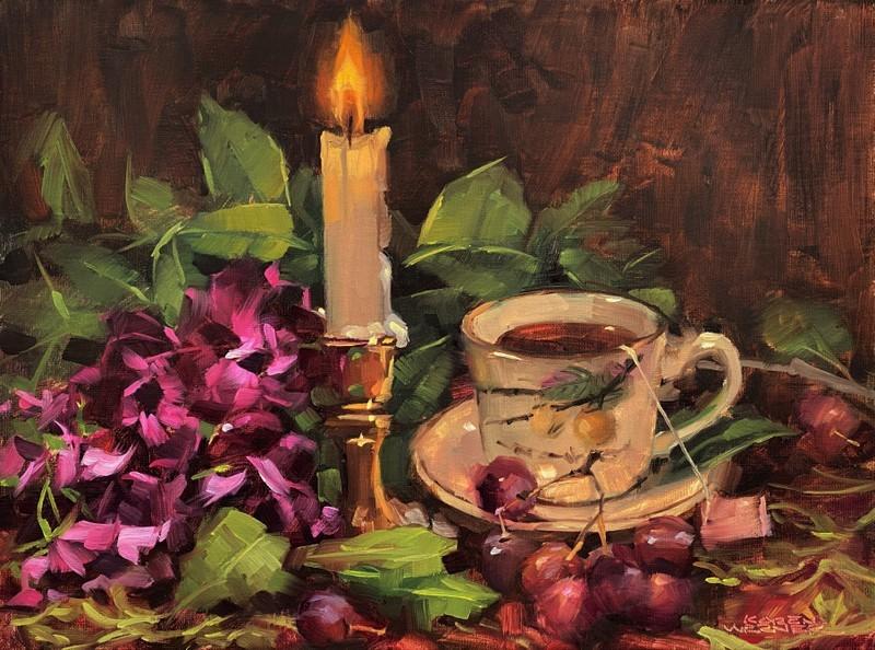 """Tea By Candlelight"" original fine art by Karen Werner"