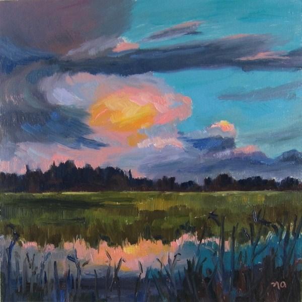 """Late Day Marsh"" original fine art by Nicki Ault"
