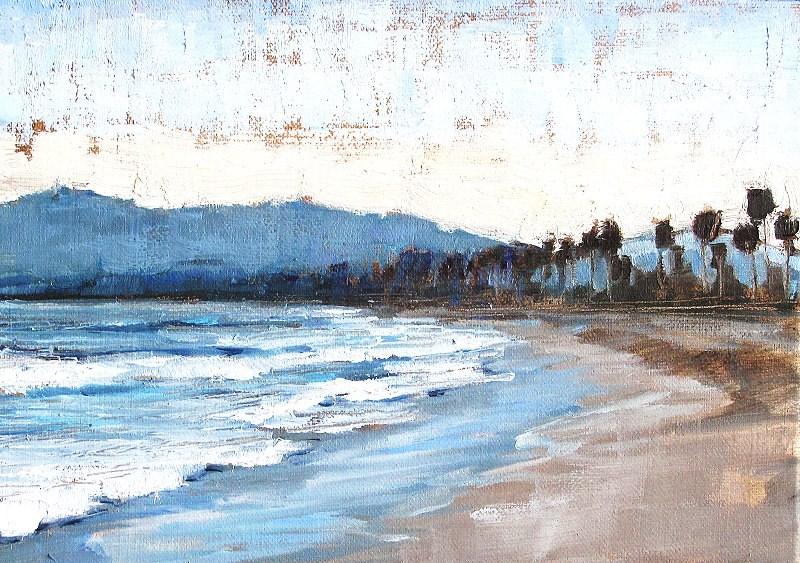 """Santa Barbara Beach Sunset Painting"" original fine art by Kevin Inman"