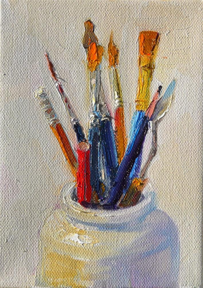 """""""Brushes and Pencils,still life,oil on canvas,7x5,price$175"""" original fine art by Joy Olney"""