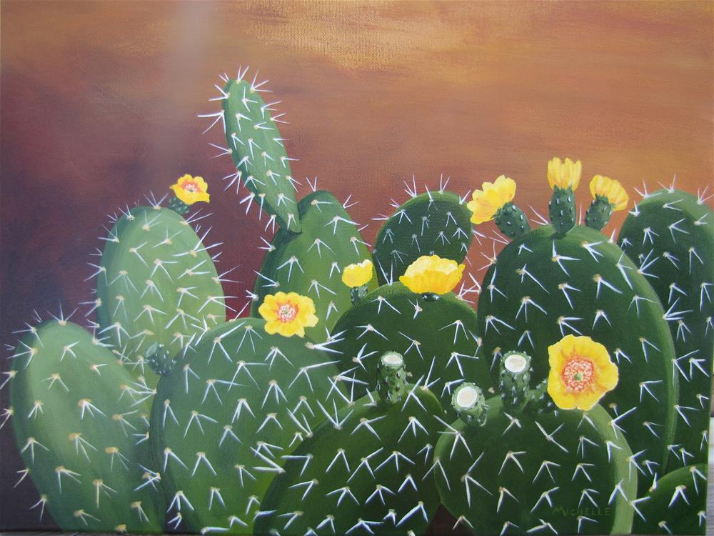 """""""Prickly Pear Yellow Bloom"""" original fine art by Michelle Wolfe"""