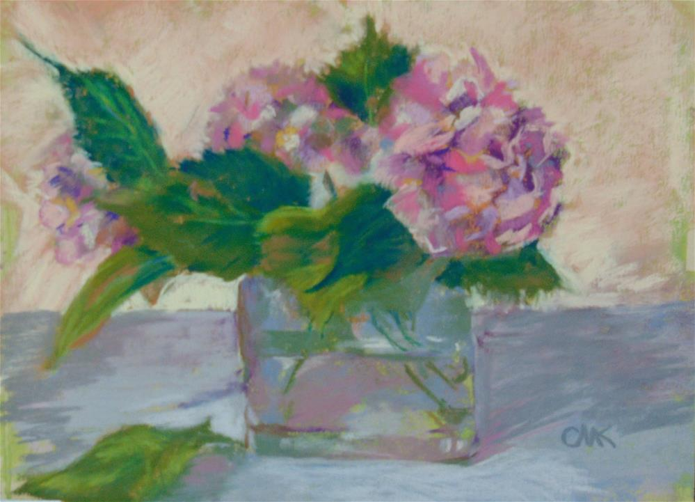 """Hydrangeas in a Square Vase"" original fine art by Catherine Kauffman"