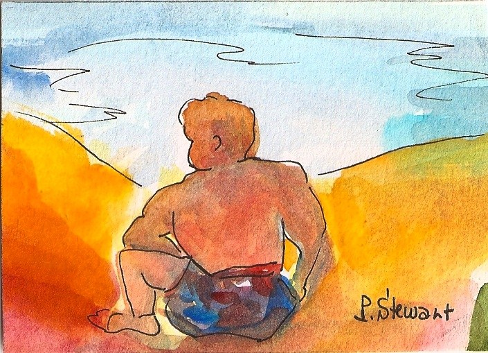 """ACEO The Life Guard"" original fine art by Penny Lee StewArt"