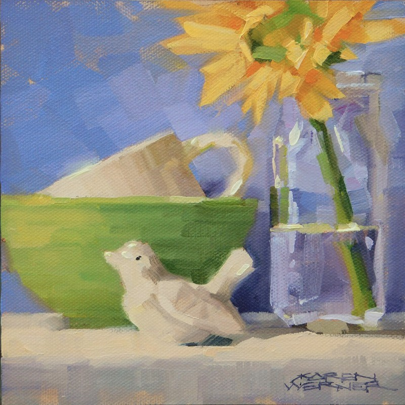 """Bowl, Bird, Bottle"" original fine art by Karen Werner"