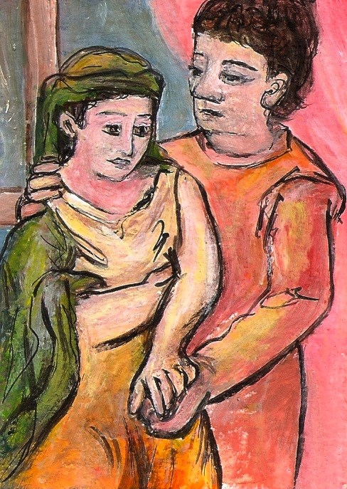 """""""ACEO The Lovers in the style of Picasso Expressionism Miniature by Penny StewArt"""" original fine art by Penny Lee StewArt"""