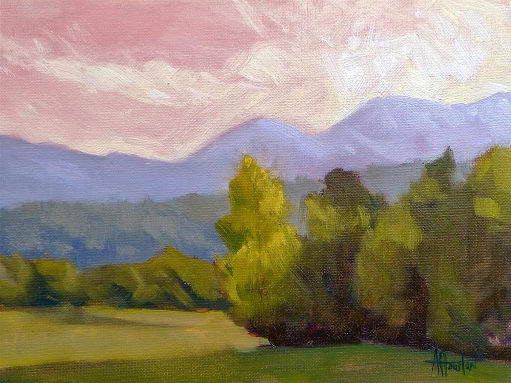 """Mountain Sunset"" original fine art by Adam Houston"