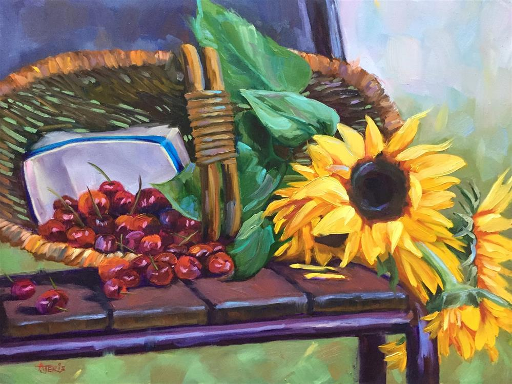 """Cheery Cherries & Sunny Sunflowers"" original fine art by Andrea Jeris"
