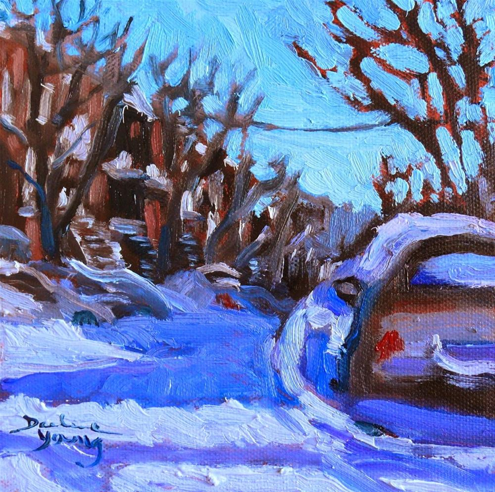 """801 Montreal Winter, 6x6, oil on panel."" original fine art by Darlene Young"