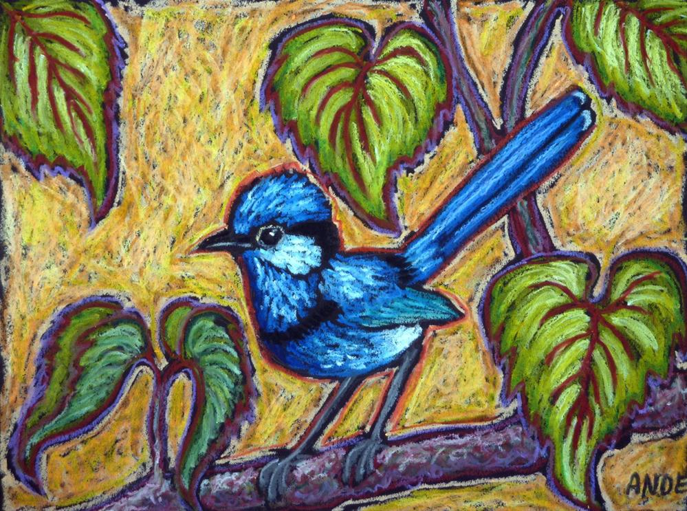"""""""Fairywren in the Forest"""" original fine art by Ande Hall"""
