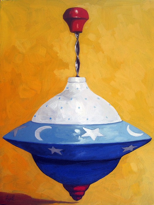 """""""Red, White and Blue Spin Top still life oil painting"""" original fine art by Linda Apple"""