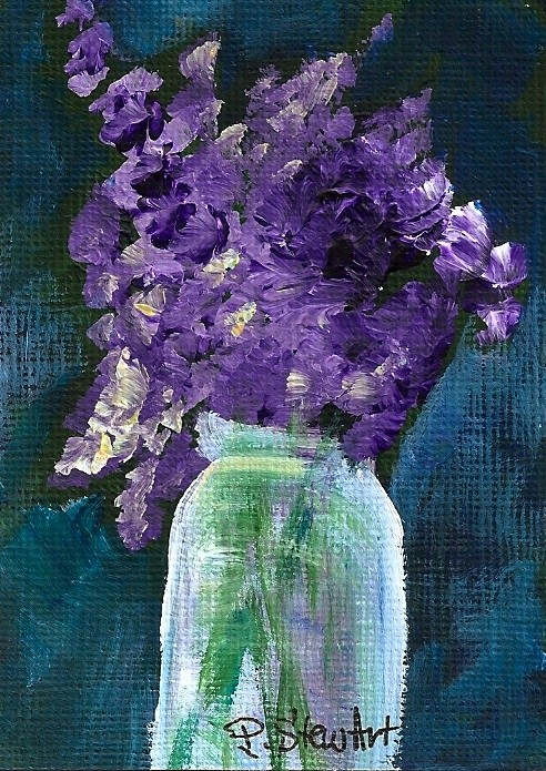 """""""Orig ACEO: Lilacs in a Mason Jar, Acrylics on heavy paper, Floral"""" original fine art by Penny Lee StewArt"""
