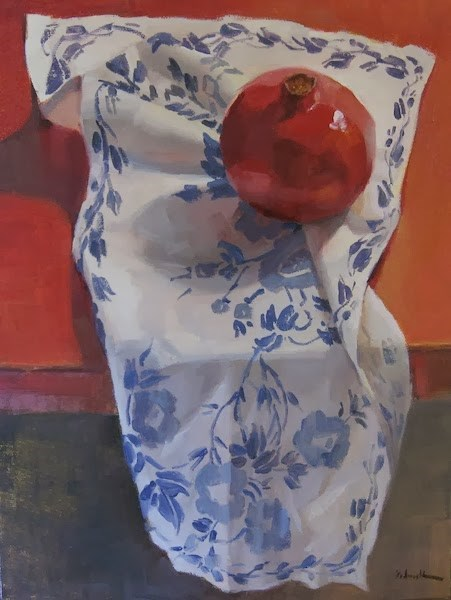"""Red, White, and Blue Pomegranate"" original fine art by Sarah Sedwick"