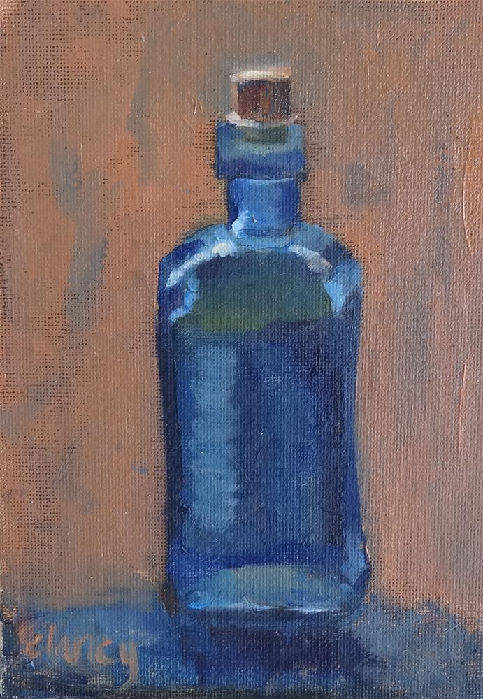 """Study of a blue glass bottle"" original fine art by Catherine Clancy"