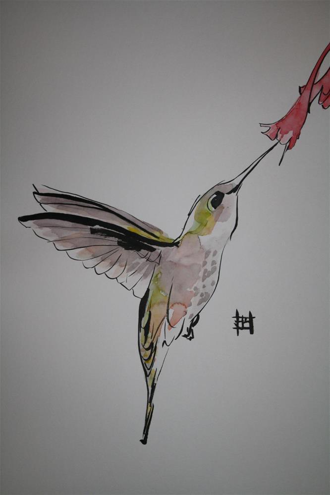 """Hummingbird feeding"" original fine art by Arron McGuire"
