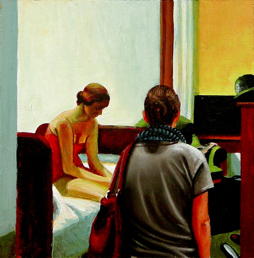 """""""Hotel Room- Woman Enjoying Painting By Edward Hopper"""" original fine art by Gerard Boersma"""